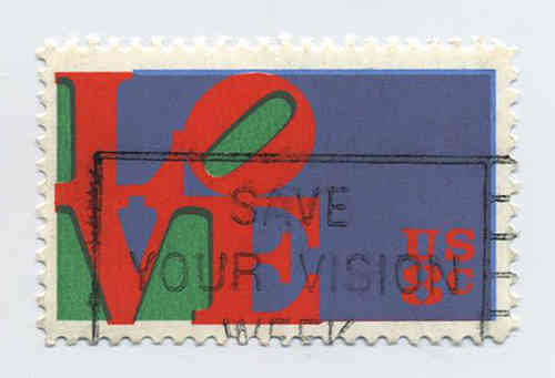 LOVE-Briefmarke gestempelt